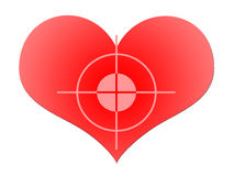 Aim To Red Heart. The Target At The Big Red Heart over White Background Royalty Free Stock Photo