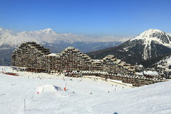 Aima 2000, Winter landscape in the ski resort of La Plagne, France Royalty Free Stock Images