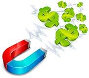 Aimant avec le dollar illustration libre de droits