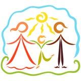 Aimant, famille heureuse et active en nature, jour ensoleillé Illustration de Vecteur