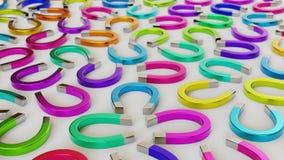Aimants différemment colorés dans même une grille serrée sur une surface en béton simple Image stock