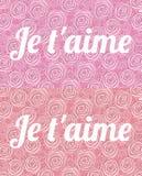 Aime del ` de Je t Te amo en francés en el fondo de las rosas pintadas rojas y rosadas ilustración del vector