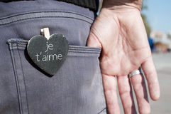 Aime Je t, я тебя люблю в французском Стоковая Фотография