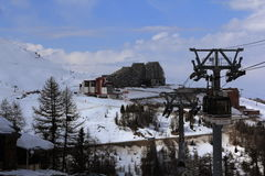 Aime 2100, Panorama of rocks in the Alpine resort of La Plagne, France Royalty Free Stock Photo