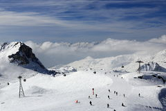 Aime 200, winter landscape in the ski resort of La Plagne, France Royalty Free Stock Photos