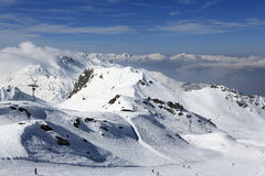 Aime 200, winter landscape in the ski resort of La Plagne, France Stock Image