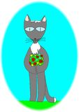 Aimez Cat With un bouquet des fleurs pour le sien aimé Photographie stock libre de droits