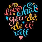 Aimez ce que vous faites, font il bien illustration stock