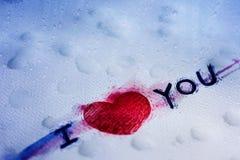 Aimez dans le concept de tristesse, texte écrivent sur le papier humide, pleurant pour Lov Image stock