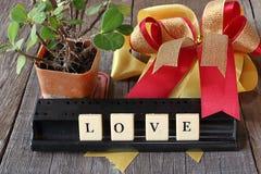 Aimez exprimer par les mots croisé sur le vieux conseil en bois avec le ruban et l'arbre à l'arrière-plan de cosse Photographie stock libre de droits