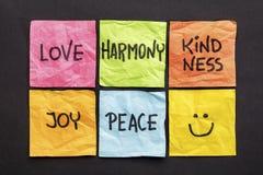 Aimez, gentillesse d'harmonie, joie et concept de paix Photos libres de droits