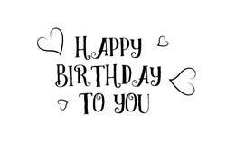 aimez joyeux anniversaire le desig d'affiche de carte de voeux de logo de citation Photo stock