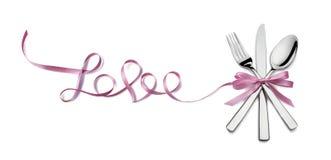 Aimez l'argenterie rose Valentine de ruban d'isolement sur le fond blanc Images stock
