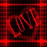 AIMEZ l'icône sur le fond abstrait au néon rouge avec le coeur au centre Vecteur illustration de vecteur