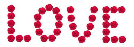 Aimez l'inscription de la rose de rouge d'isolement sur le blanc Images libres de droits