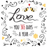 Aimez la bannière pour le jour de valentines heureux avec la citation mignonne et l'abeille Image stock