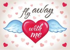 Aimez la carte de voeux d'invitation, fond de carte de jour du ` s de Valentine, avec le coeur tiré par la main de rouge de vol Images libres de droits