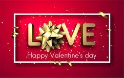 Aimez la carte du ` s de valentine avec l'arc et la serpentine illustration libre de droits