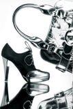 Aimez la chaussure et le sac argenté photo stock