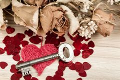 Aimez la clé à mon coeur, symbole de l'amour Image stock