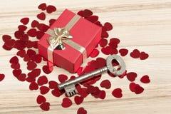 Aimez la clé à mon coeur, symbole de l'amour Images libres de droits