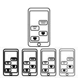aimez la correspondance par l'icône de téléphone dans le style différent d'épaisseur Un de l'icône de collection de Valentine peu illustration de vecteur