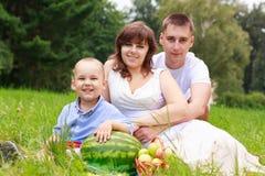 Aimez la famille de sourire ayant le pique-nique en stationnement d'été Image libre de droits