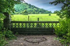 Aimez la forme de coeur au sol avec une vue de campagne Photo libre de droits