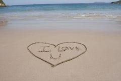 Aimez la plage Costa Rica de coeur et de sable de mots Images libres de droits