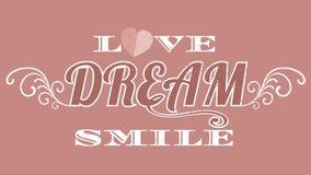 Aimez la typographie de fille de rêve, graphiques de T-shirt, le format eps1 de vecteur Image stock