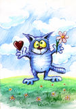 Aimez le chat bleu avec les coeurs et la fleur Images stock