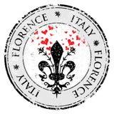 Aimez le coeur au fleur de lis de Florence, tampon en caoutchouc grunge de destination de voyage avec le symbole de Florence, Ita Photo stock