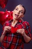 Aimez le coeur concept-rouge, femme, amour, mignon Photos libres de droits