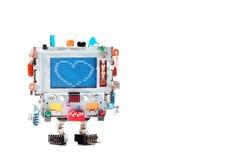 Aimez le coeur et le rétro robot avec la tête de moniteur, éléments électroniques de résistance colorée de condensateur Message d image stock