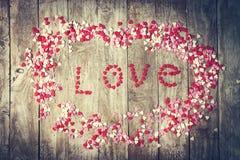 Aimez le concept avec des lettres AIMENT et des amoureux sur le vieux CCB en bois Photo libre de droits