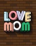 Aimez le fond de calligraphie de la maman 3D, conception de typographie, carte de calligraphie de maman d'amour Photo stock