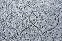 Aimez le jour de valentines froid de fond d'hiver de fidélité de coeur Photographie stock libre de droits