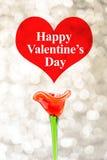 Aimez le mot au coeur rouge avec la fleur rouge sur le fond de bokeh, amour Photo libre de droits