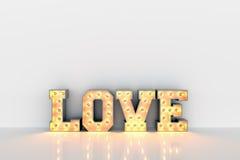 Aimez le mot avec les ampoules à l'intérieur sur le fond propre blanc de mur Photo libre de droits