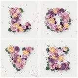 Aimez le mot fait de fleurs jaunes et violettes Photo libre de droits