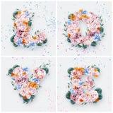 Aimez le mot fait de fleurs roses et bleues Photo libre de droits
