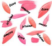 Aimez le papier peint de fond de jour du ` s de Valentine de taime de ` de je d'amore Photographie stock