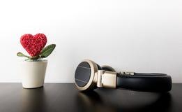 Aimez le pot de fleur de coeur avec l'écouteur pour la musique d'amour Photographie stock libre de droits