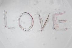 Aimez, le rouge d'amour de mot de légende, noir dans la surface de couleur Photo libre de droits