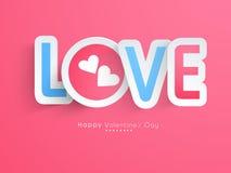 Aimez le texte avec le coeur pour la célébration heureuse de Saint-Valentin Photo libre de droits