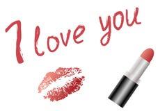 Aimez le texte et l'empreinte rouge de rouge à lèvres et de lèvre Images libres de droits