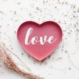 Aimez le texte sur la forme de coeur avec la fleur sèche de branche sur le blanc Photo libre de droits