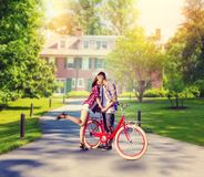 Aimez les ajouter à la bicyclette de vintage embrassant en parc Photo stock