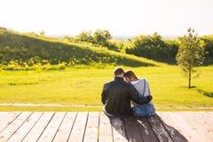 Aimez les couples étreignant sur un pilier dans la vue de dos de nature Image stock
