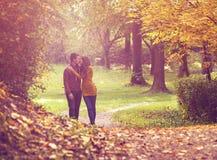 Aimez les couples marchant dans la forêt colorée d'automne photos stock